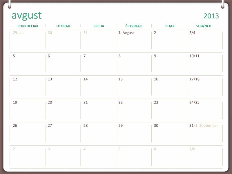 Akademski kalendar za 2013-2014. (avgust)