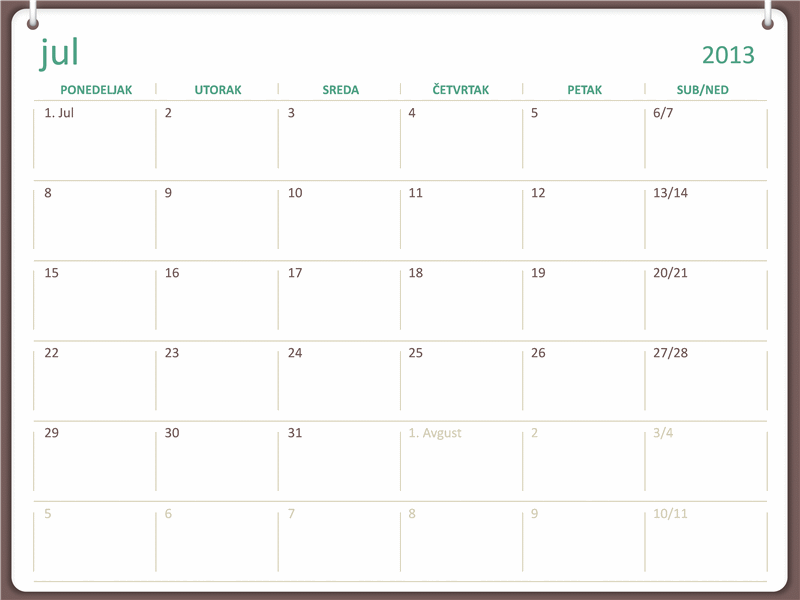 Akademski kalendar za 2013-2014. (jul)
