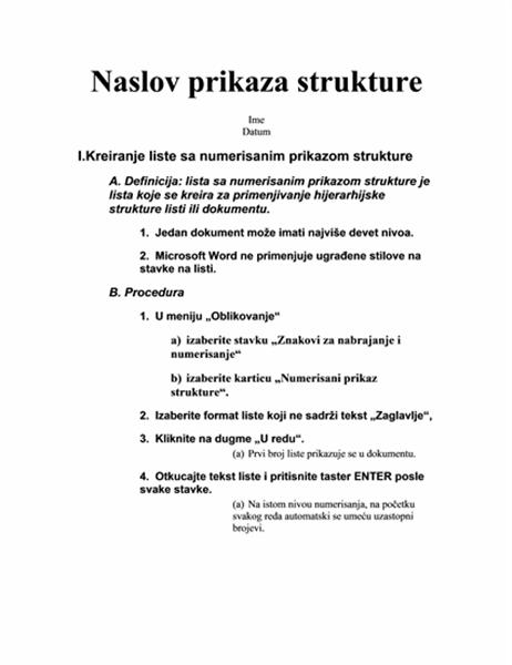 Struktura od pet nivoa sa uputstvima