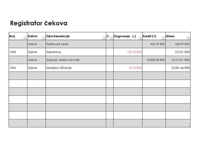 Registrator čekova (jednostavan)