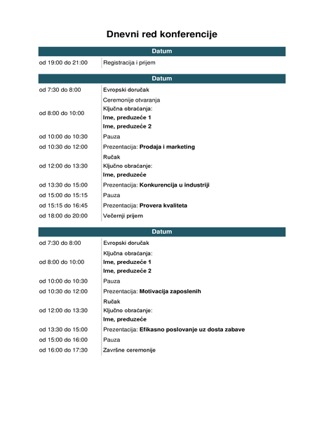 Dnevni red konferencije