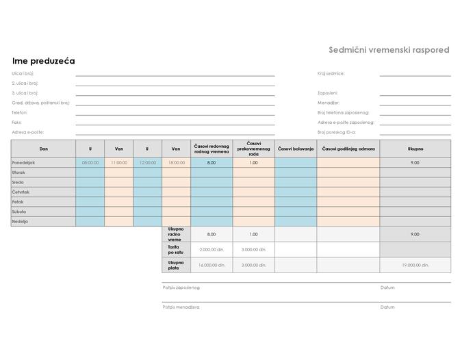 Sedmični vremenski definisan raspored (8 1/2 x 11, položeno)