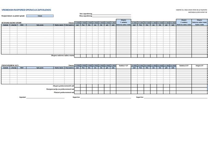 Vremenski raspored operacija zaposlenog