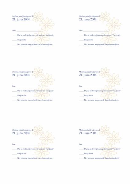 Potvrda dolaska zvanica na venčanje
