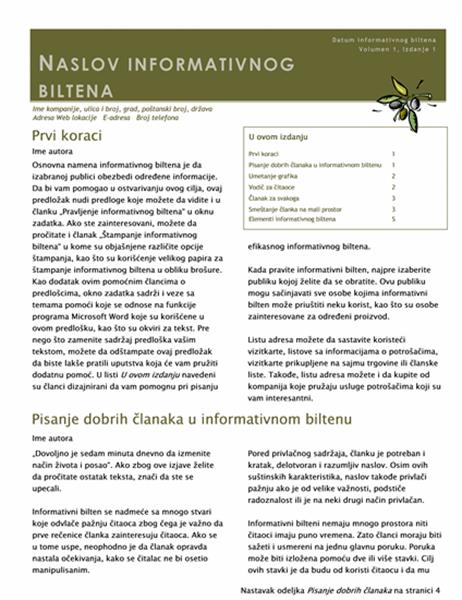 Poslovni informativni bilten (2 stupca, 6 str., poštanski)