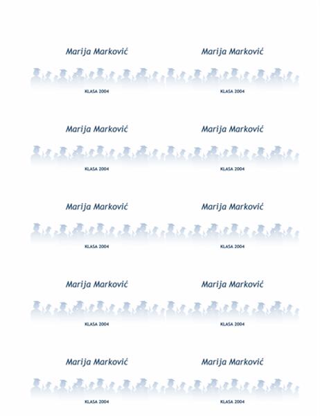 Kartice sa imenima za nove diplomce