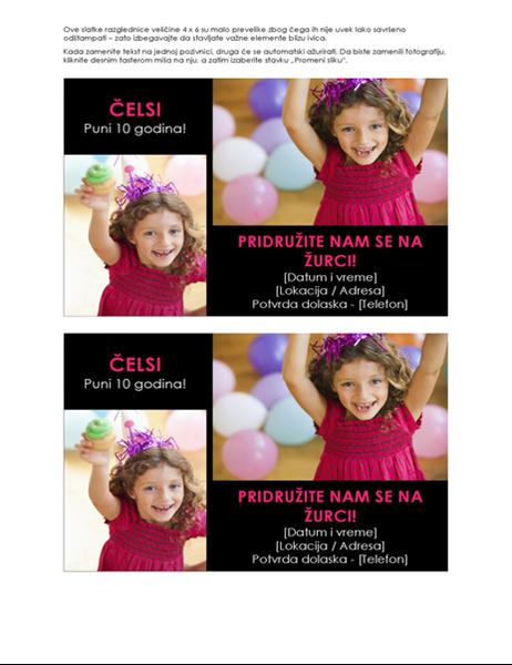 Rođendanske pozivnice sa fotografijama (2 po stranici)