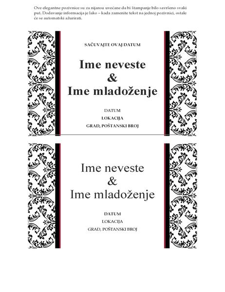 Pozivnica za venčanje (crno-beli dizajn venčanja)