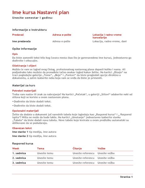 Nastavni plan nastavnika (u boji)