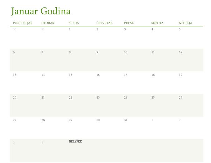 Svi kalendari godine (1 mesec po kartici)