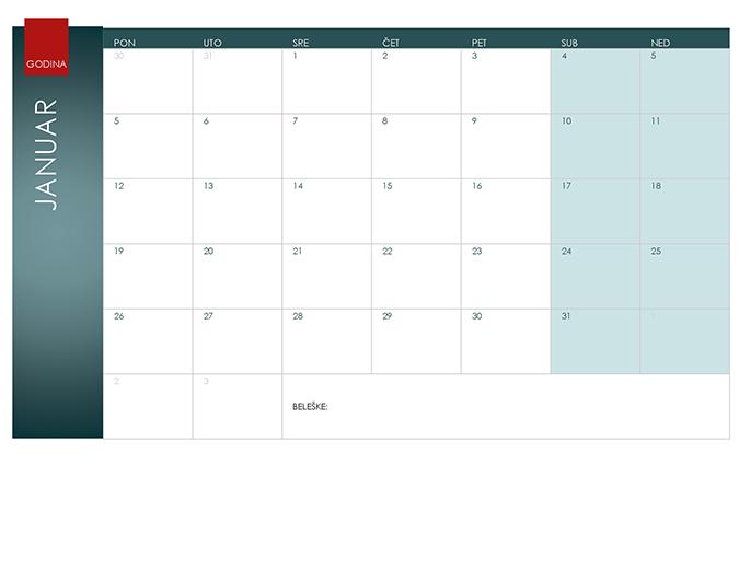 """Kalendar za bilo koju godinu (tema """"Jon"""")"""