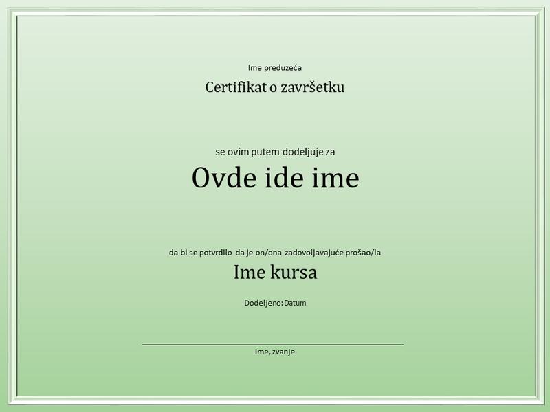 Certifikat za završetak kursa