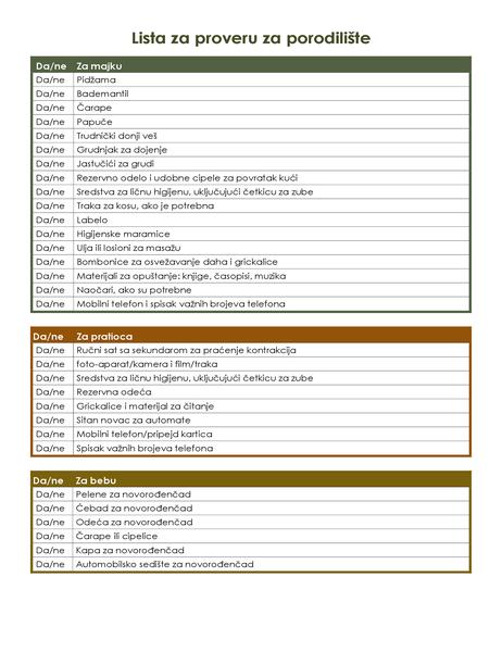 Lista za proveru za porodilište