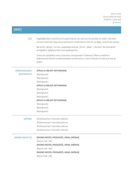 Funkcionalna biografija (jednostavan dizajn)