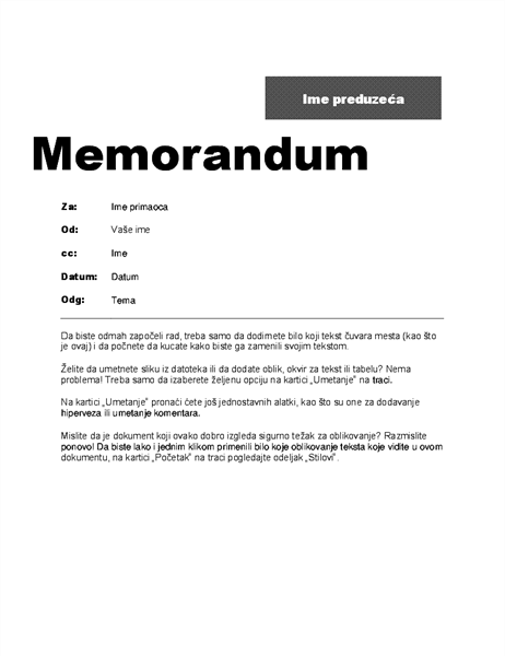 Interni memorandum (profesionalni dizajn)