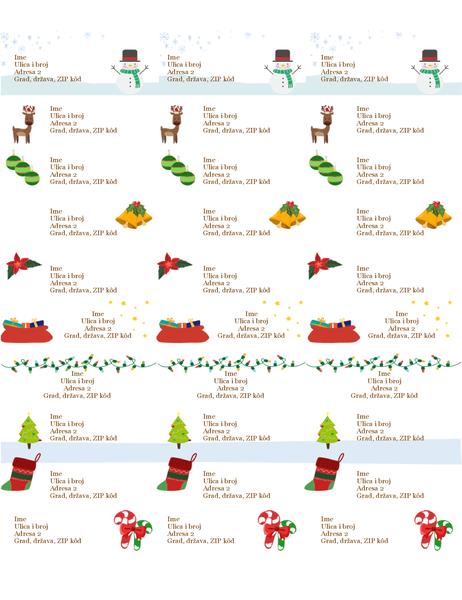 Nalepnice za poklone (dizajn u božićnom duhu, 30 po stranici, podržava Avery 5160)