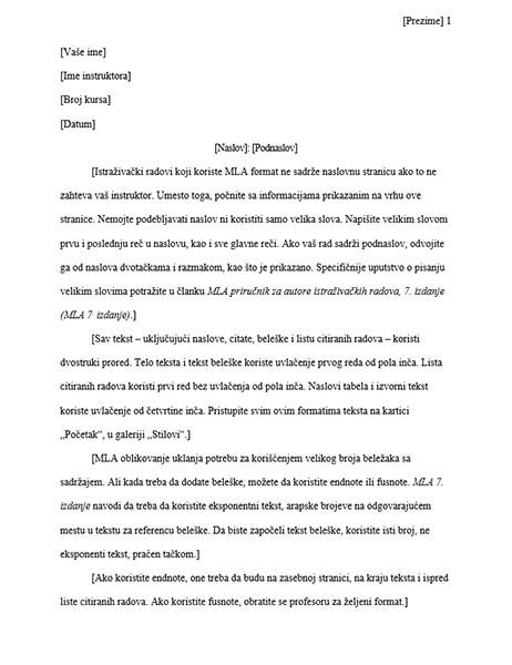 Istraživački rad sa MLA stilom