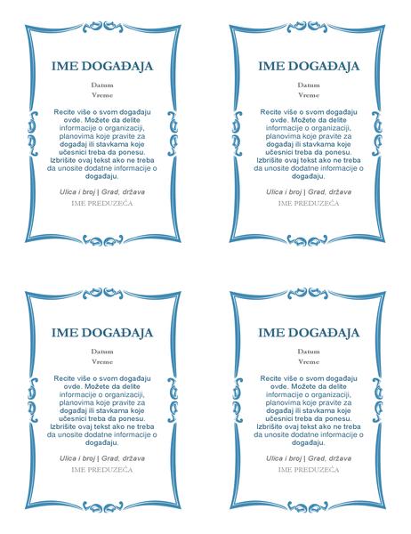 Pozivnice za događaj (4 po stranici)