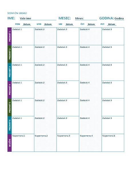 Sedmični raspored zadataka (u boji)