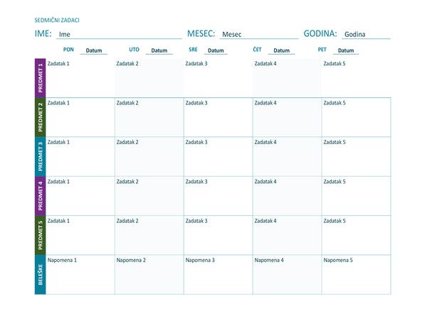 Sedmični raspored zadataka (u boji, položeno)