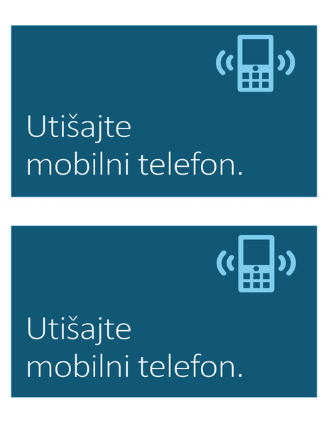 Znak zabrane korišćenja mobilnih telefona (2 po stranici)