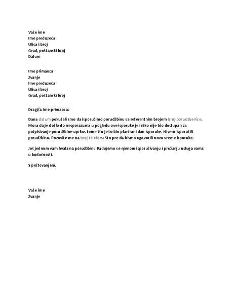 Pisma koje obaveštava klijenta o propuštenoj isporuci