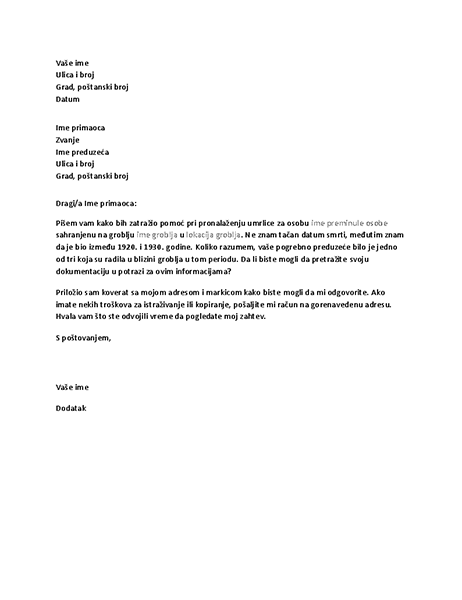 Pismo kojim se zahtevaju genealoški zapisi od pogrebnog preduzeća
