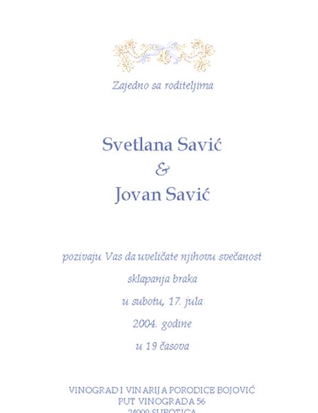 Pozivnica za venčanje (tradicionalna)