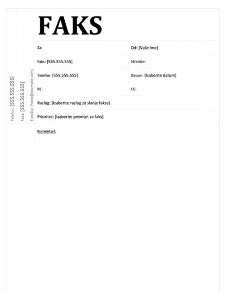 Naslovna strana za faks (akademski dizajn)