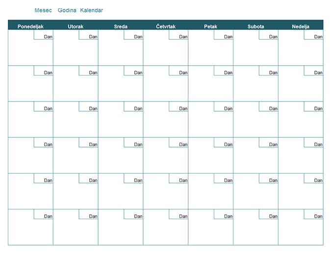 Prazan mesečni kalendar