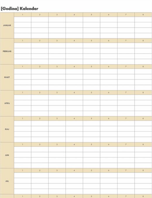 Stalni kalendar (horizontalni)