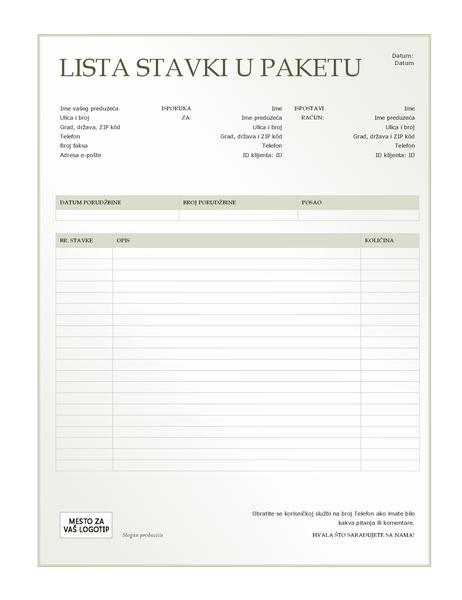 Lista stavki u paketu (dizajn sa zelenim prelivom)