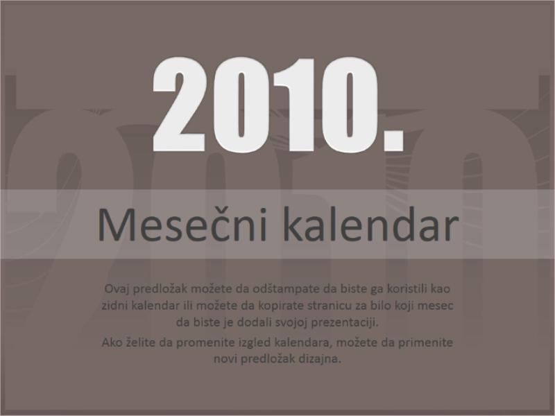 Kalendar za 2010. godinu (pon-ned.)