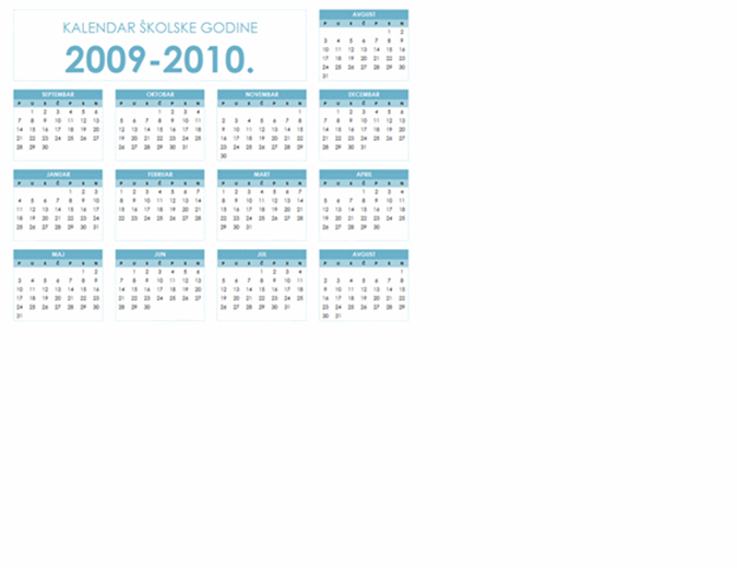 kalendar školske 2009/2010. godine (1 stranica, položeno, pon-ned.)
