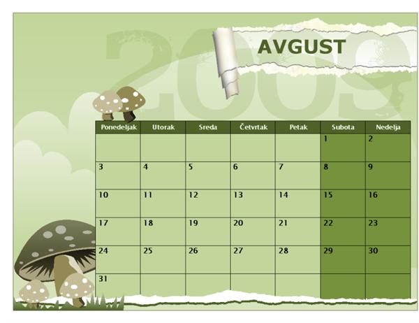 Kalendar školske 2009/2010. godine (avg-avg, pon-ned)