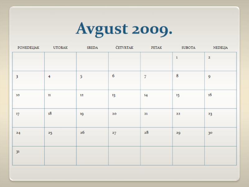 Kalendar školske 2009/2010. godine (13 str, pon-ned.)