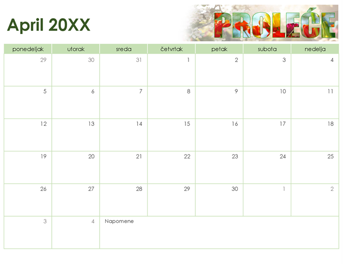 Sezonski foto kalendar