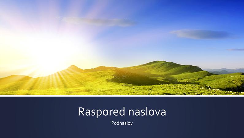 Prezentacija na temu prirode sa plavim trakama i fotografijom izlaska sunca u planinama (široki ekran)