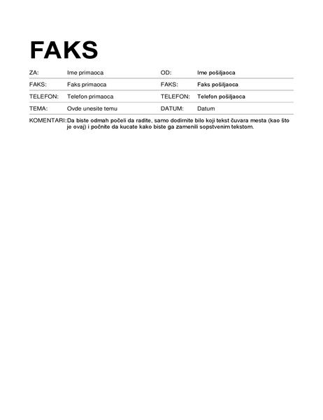 Naslovna stranica faksa (standardni format)