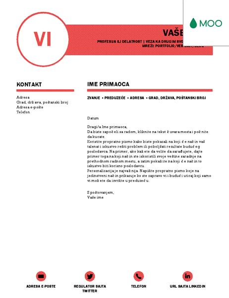 Doterano propratno pismo koje je dizajnirao MOO
