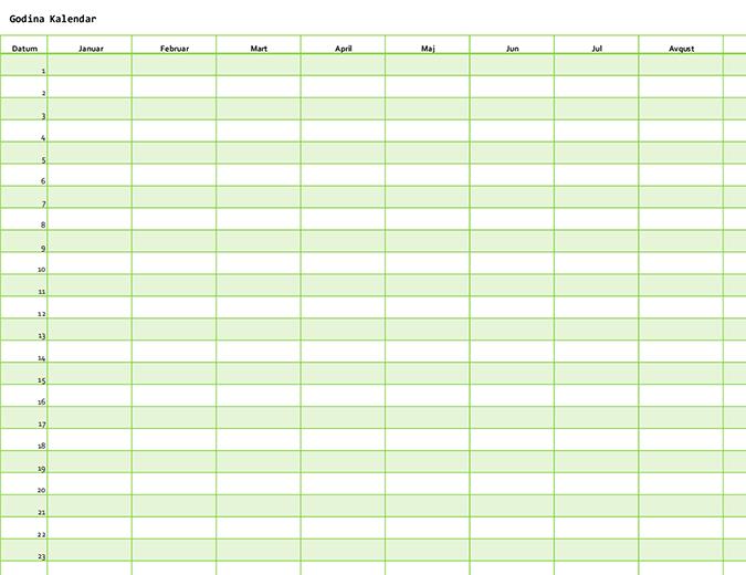 Kalendar za bilo koju godinu (vertikalni)