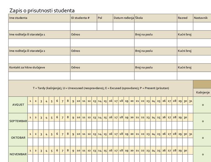Zapis o prisutnosti studenta (običan)
