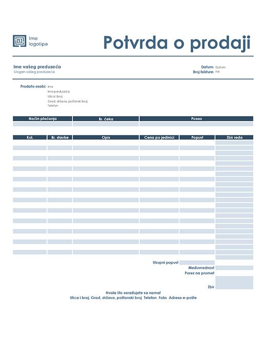 Potvrda o prodaji (jednostavni plavi dizajn)