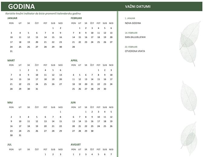 Poslovni kalendar (bilo koja godina, nedelja-subota)