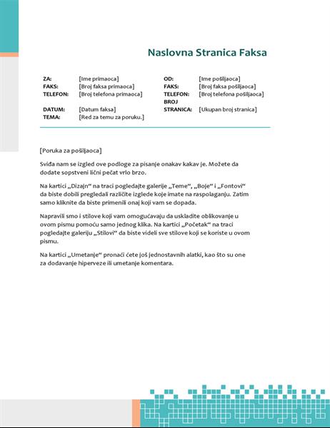 Naslovna stranica faksa sa minimalističkim tehno dizajnom