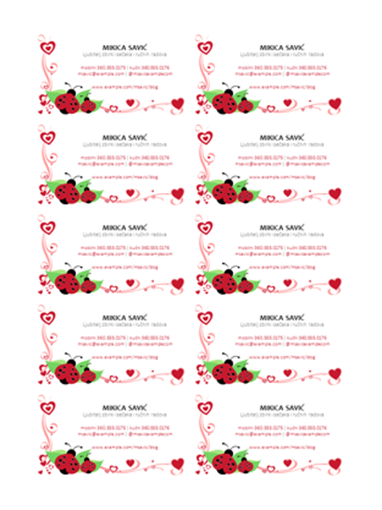 Vizitkarte (bubamare i srca, 10 po stranici)