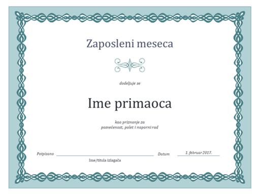 Certifikat za radnika meseca (dizajn sa plavim lancem)