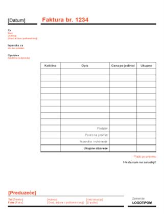 Poslovna faktura (crveni i crni dizajn)