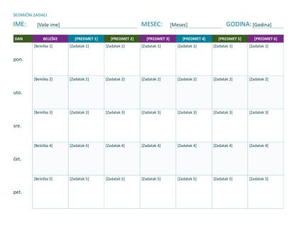 Sedmični raspored zadataka