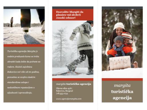 Trodelna brošura o putovanjima (crveni i sivi dizajn)